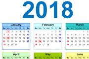 2018 year calander